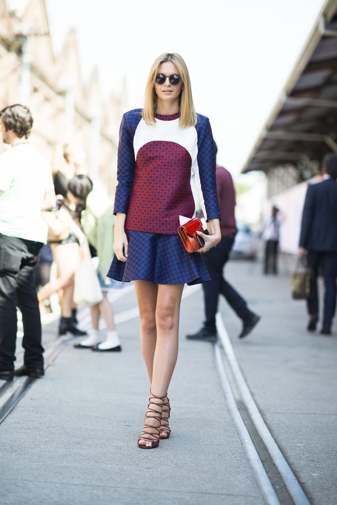 With a colorblocked top, flared skirt, and lace-up heels, this ensemble was equal parts polished and fashion-forward. Source: Le 21ème | Adam Katz Sinding