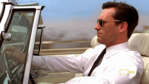Don Draper is so smooth driving his car.