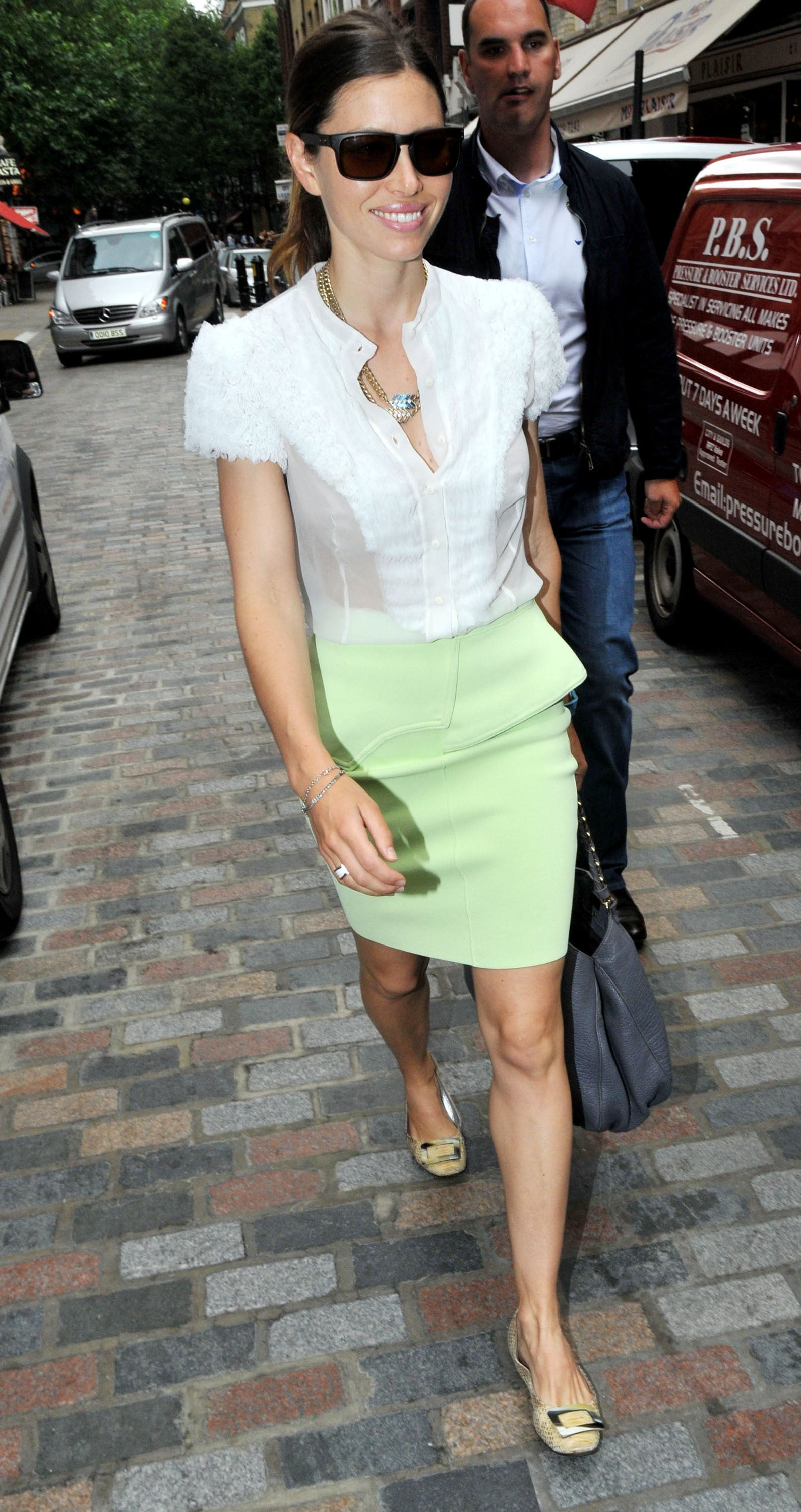 Jessica showed pastel love in London in an ensemble that's perfectly girlie.