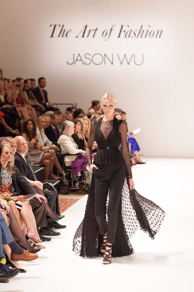 Skinny pants were paired with flowing polka-dot peplum tops, putting an unexpected spin on a black-tie look.