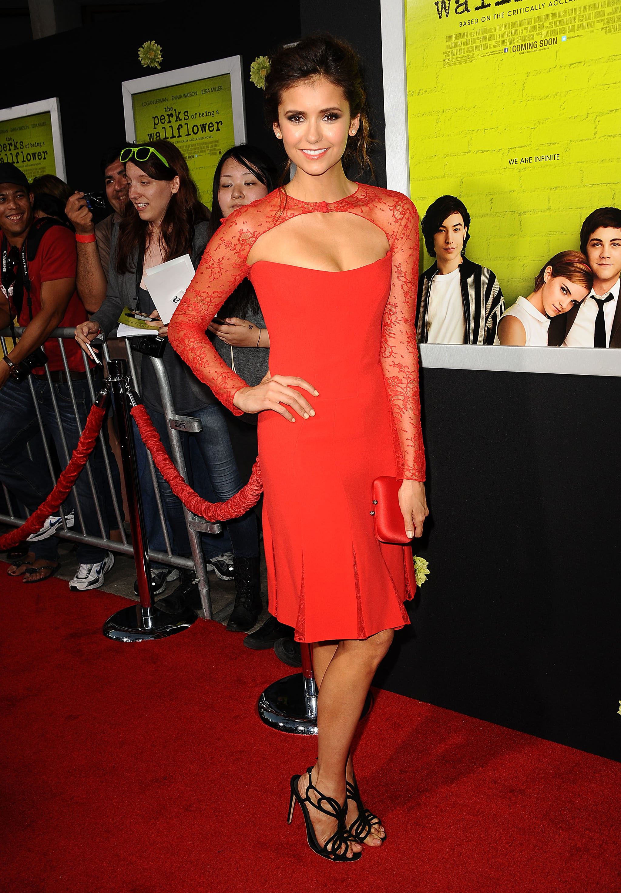 Her lacy, long-sleeved Reem Acra LRD struck a striking note at The Perks of Being a Wallflower LA premiere in September 2012.