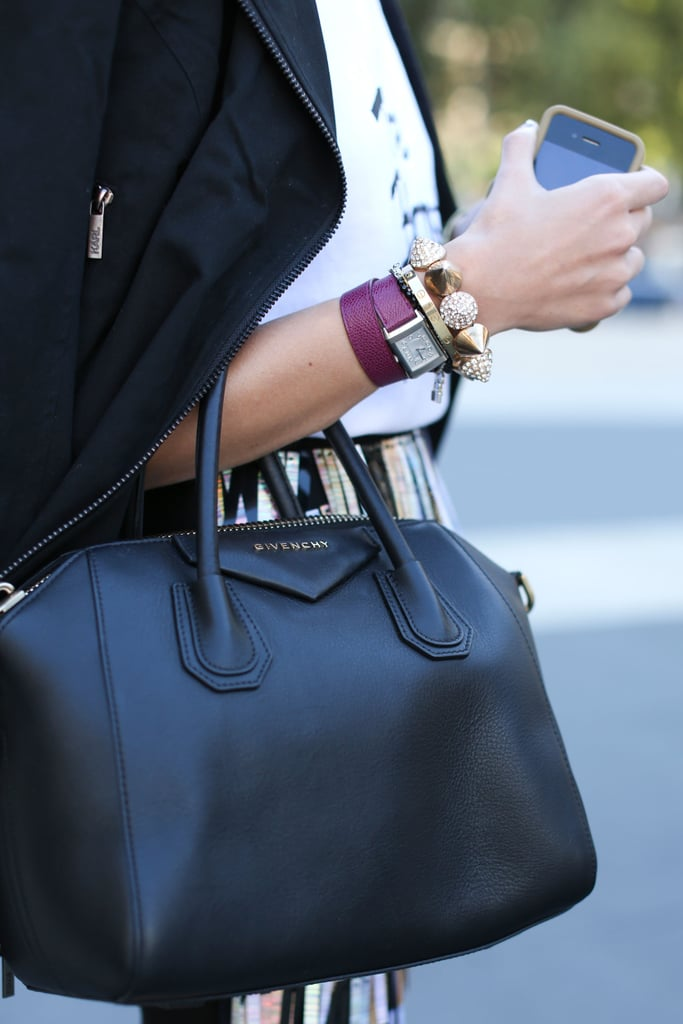 Stacked bracelets and arm candy? Check. Covet-worthy satchel? Check. This styler was armed and ready to go with baubles and a leather Givenchy in tow.