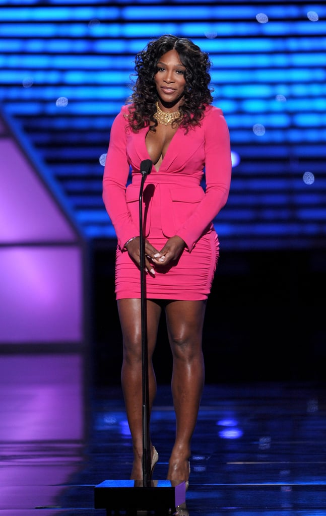 Serena Williams looked lovely in a bright shade of pink.
