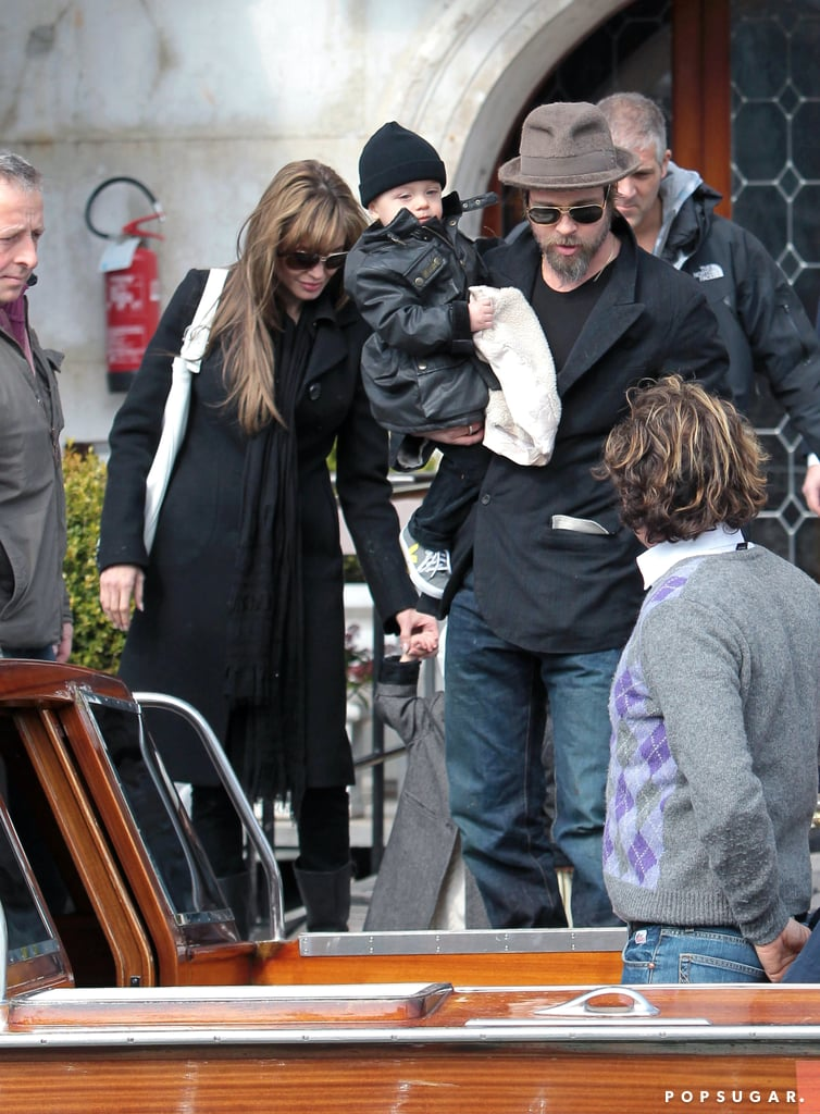 Knox Jolie-Pitt was out exploring in Italy in March 2010 with Vivienne Jolie-Pitt and his parents, Brad Pitt and Angelina Jolie.