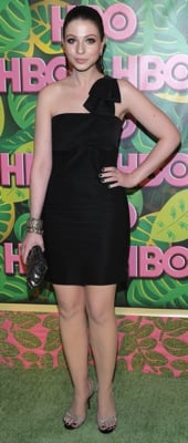 Michelle Trachtenberg Wears a Black One Shoulder Dress at the 2010 Primetime Emmy Awards