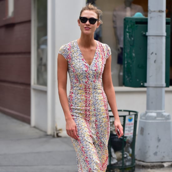 Karlie Kloss Wearing a Dress and Trainers June 2016