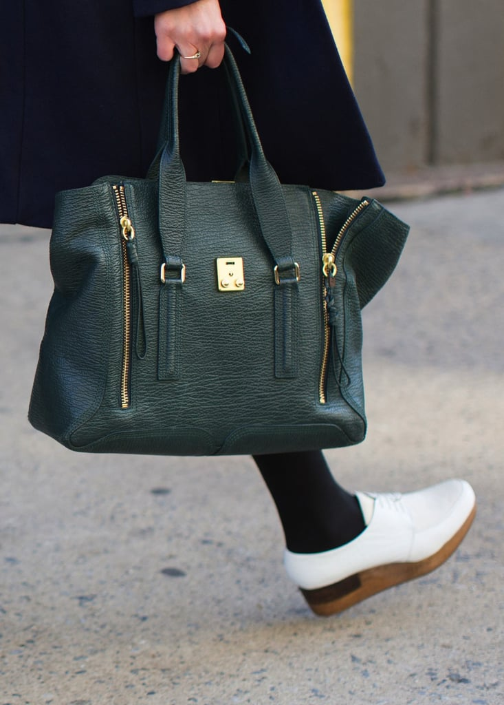 3.1 Phillip Lim's Pashli tote and Rachel Comey's white flatforms were the perfect pairing.