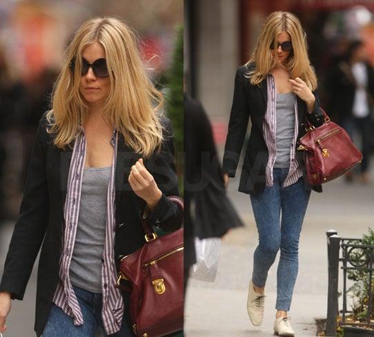 Sienna Miller in Black Blazer, Striped Shirt, Red Prada Bag in New York City 2009-12-04 11:09:49
