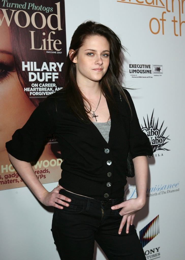 Kristen Stewart wore a cross necklace to the Hollywood Life Breakthrough of the Year Awards in LA in December 2007.