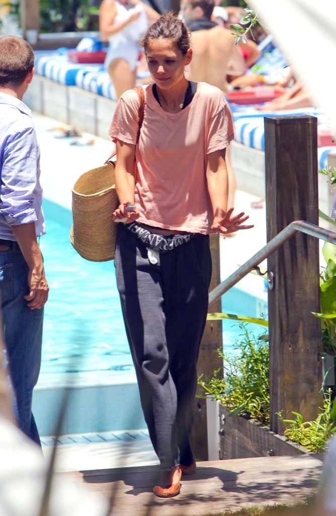 Katie Holmes at the pool in Miami.