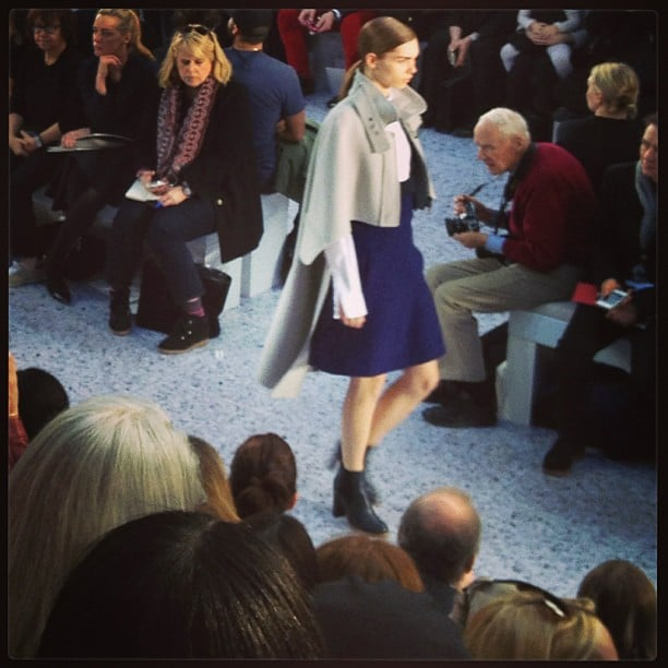 The opening look from Chloé. (Is that Bill Cunningham we spy?)