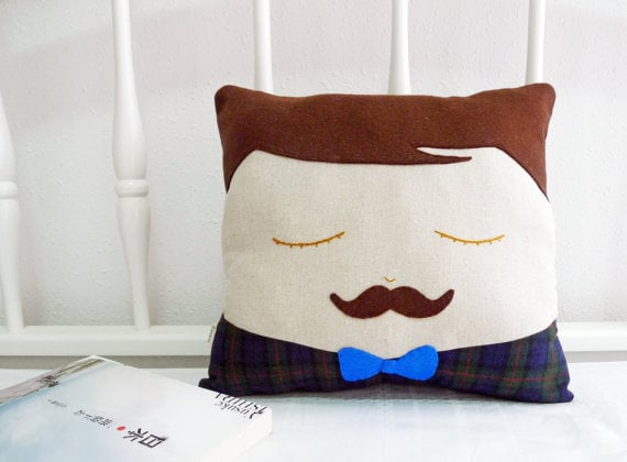 Cookie Cutter Mustache Man Cushion
