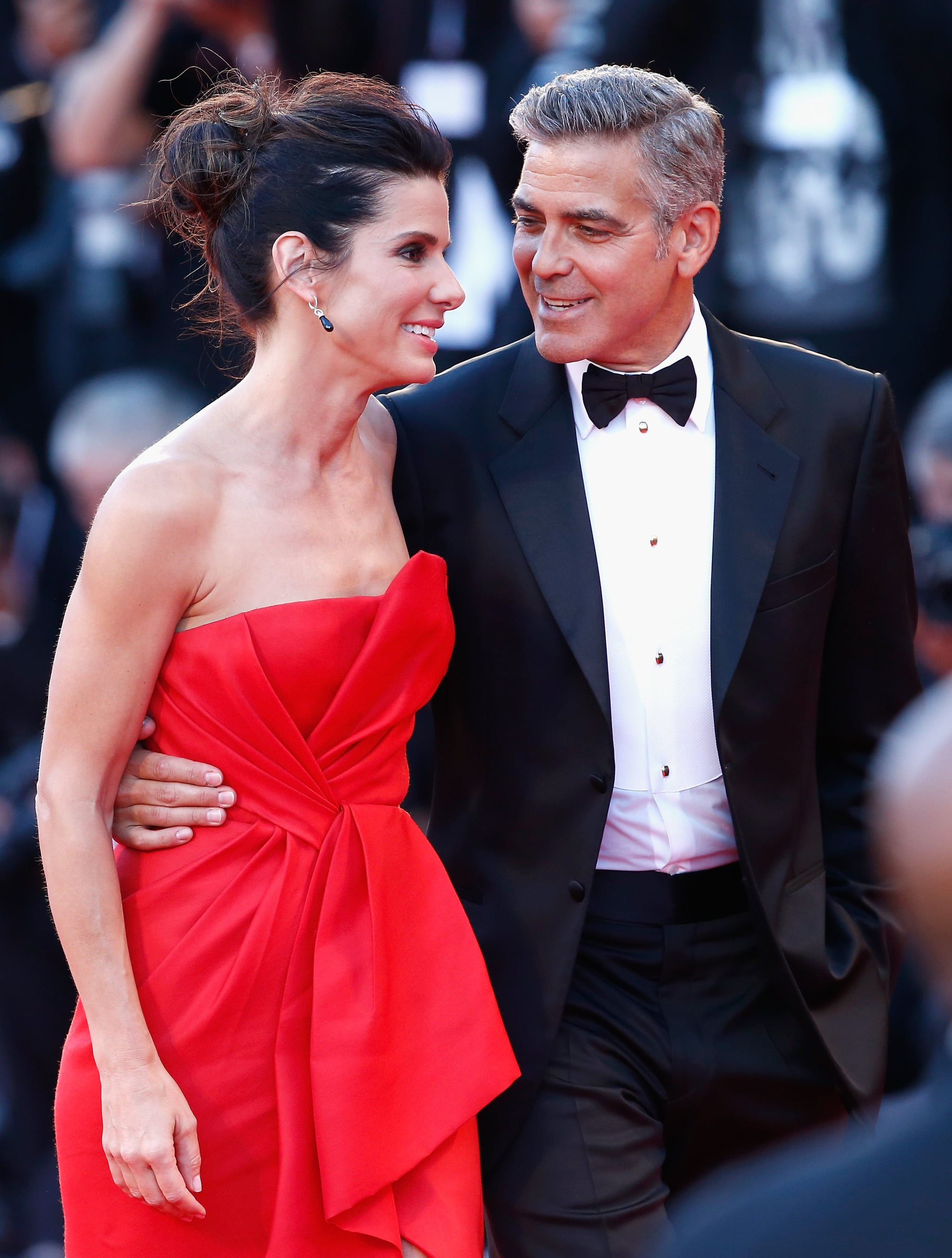 George Clooney and Sandra Bullock made a glamorous pair for the red carpet premiere of Gravity.