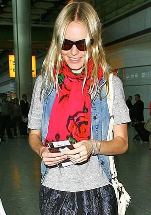 Photo of Kate Bosworth Wearing Denim Vest at LAX Airport