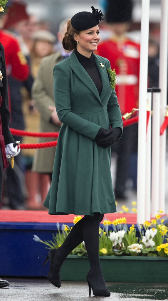 The duchess celebrated St. Patrick's Day by visiting the barracks at Aldershot, England, to pin clovers on soldiers.