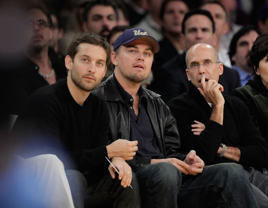 Photos of Leonardo DiCaprio and Tobey Maguire at the Lakers Game in LA