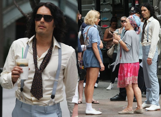 Pictures of Russell Brand Filming Arthur With Greta Gerwig and Helen Mirren Ahead of Waxwork, His Dad Parties With Amy Winehouse