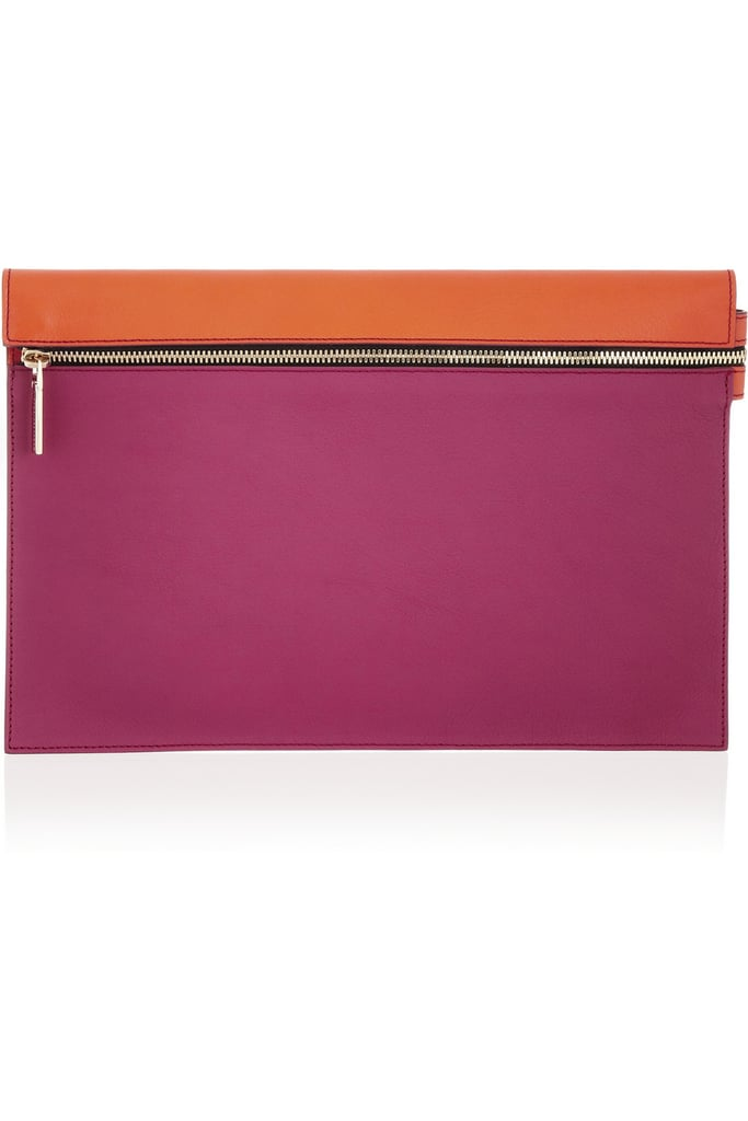 Victoria Beckham Two-Tone Leather Clutch ($650)