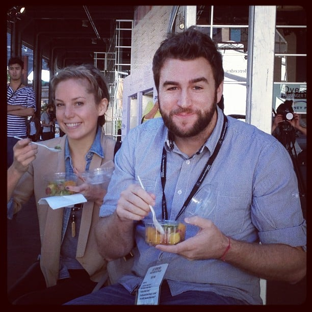 Ali taking a fruit salad break with our awesome photographer Ben.
