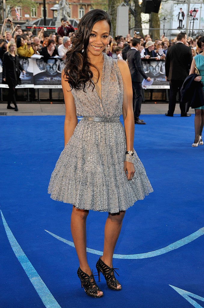 In 2009, Saldana wore a gray printed dress by Azzedine Alaia to the Star Trek premiere in London — who wore it better?