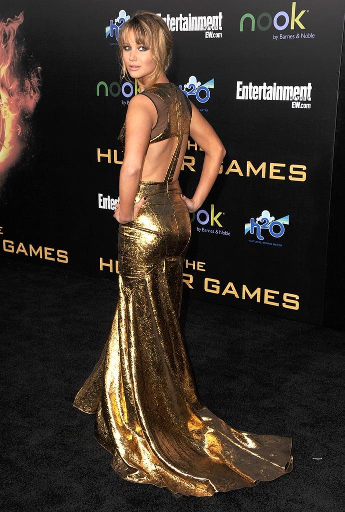 A back view of Jennifer's Prabal Gurung gown highlighted a sporty cutout detail.