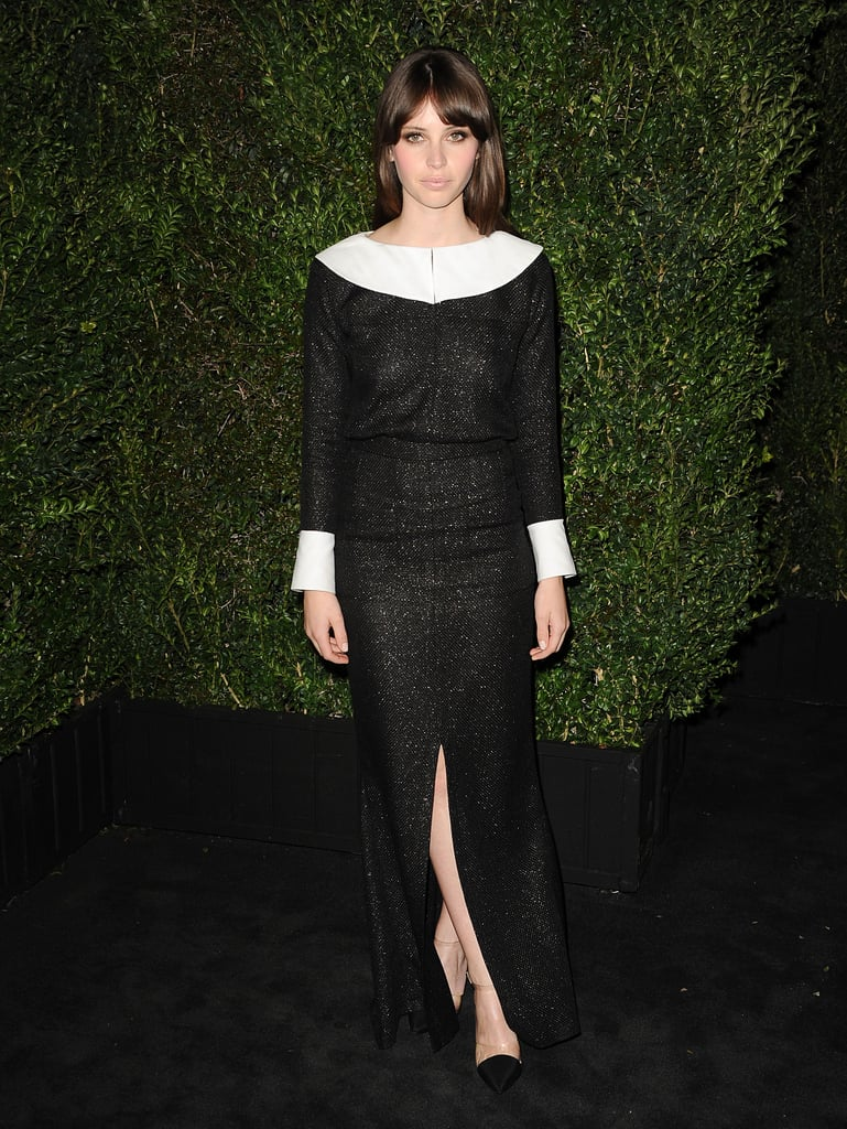 Felicity Jones wore a black and white number.