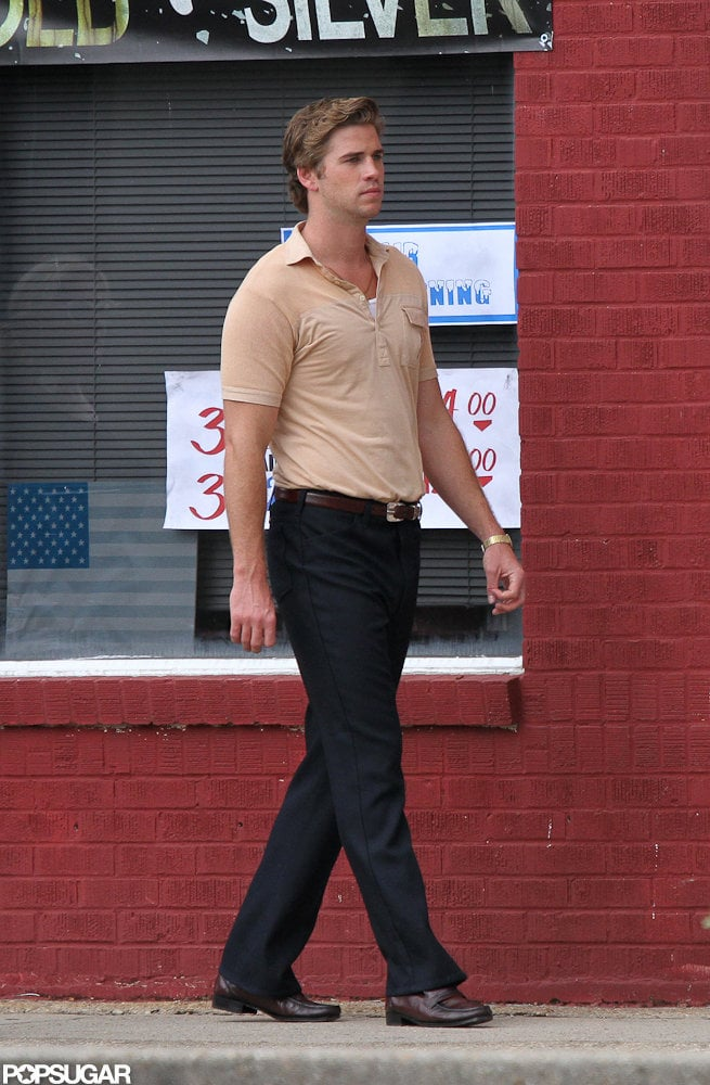 Liam Hemsworth strutted onto the set of Empire State in New Orleans.