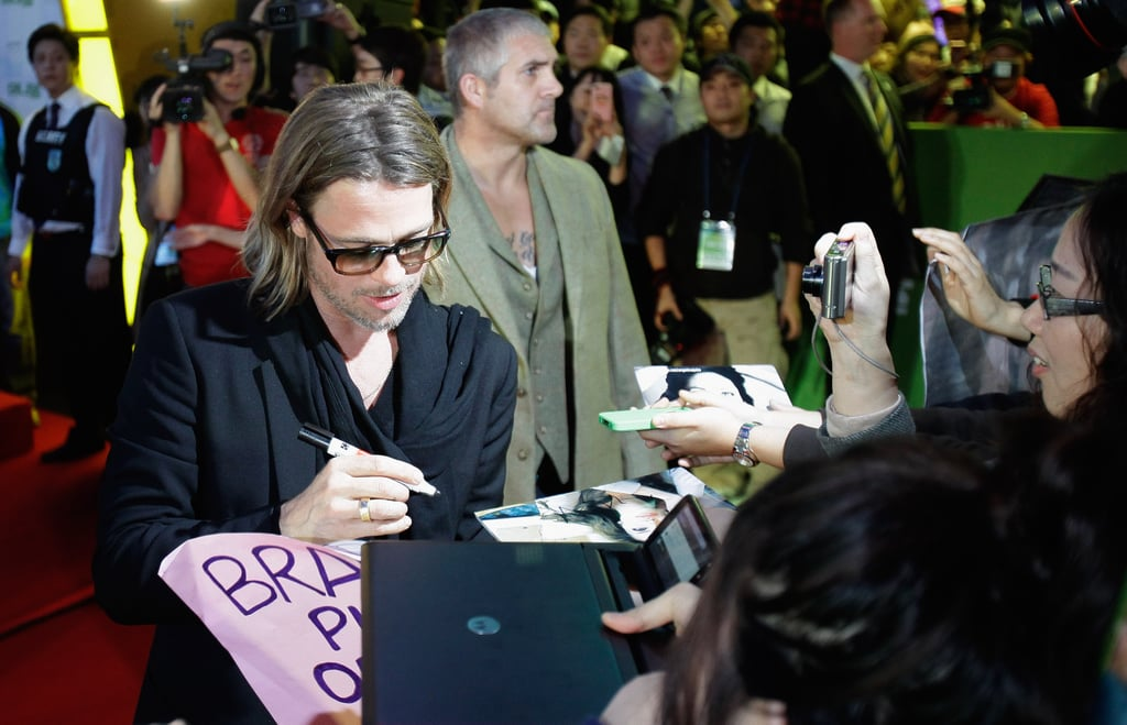 Brad Pitt's fans turned up in droves at the premiere.