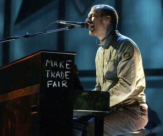 Chris Martin's piano spread his fair trade message during a performance in 2003.
