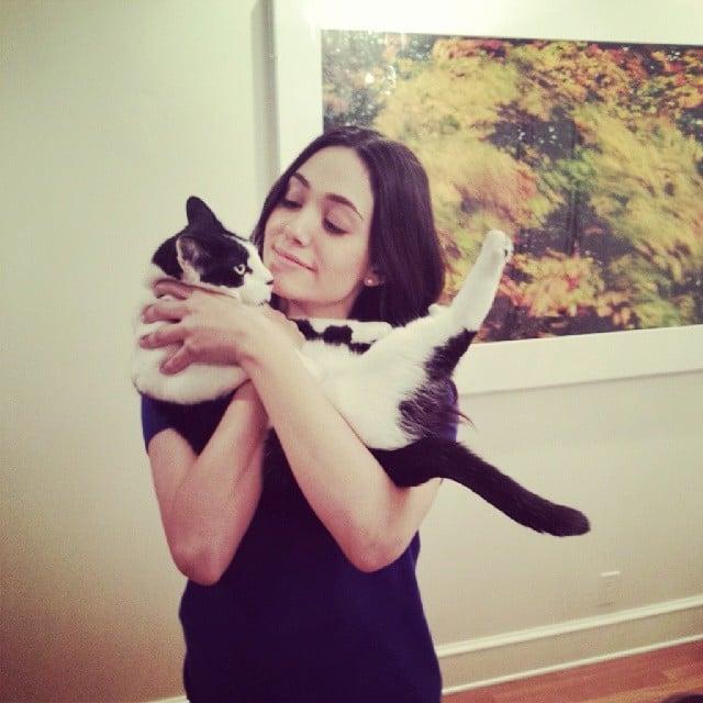 Emmy Rossum got close with a cat. Source: Instagram user emmyrossum