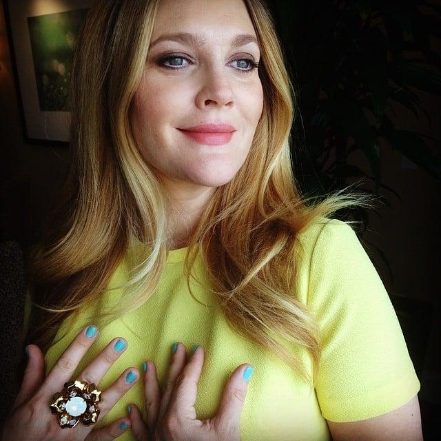 Drew Barrymore showed off her Spring look. Source: Instagram user drewbarrymore