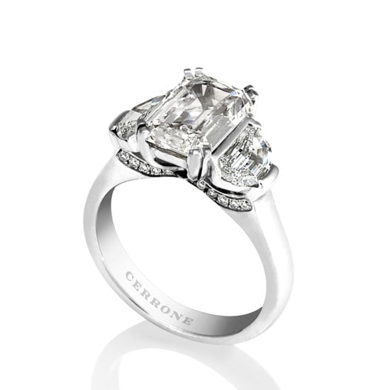 18 carat white gold emerald and shield-cut diamond ring, $57800, Cerrone, stockists: (02) 9569 8922