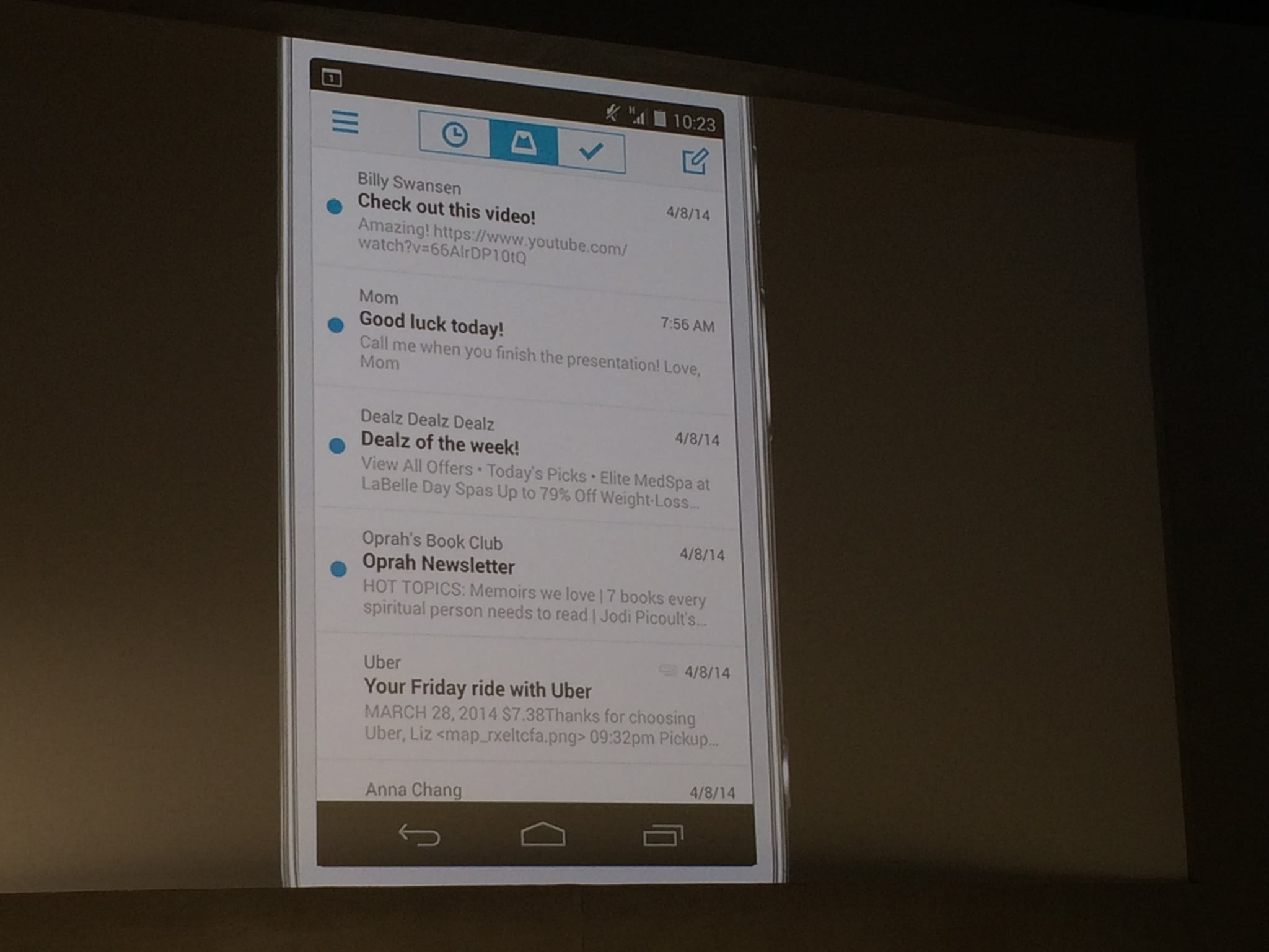 Mailbox for Android — Inbox View