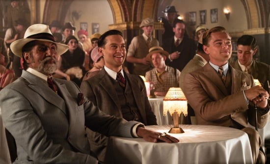 Amitabh Bachchan as Meyer Wolfsheim, Tobey Maguire as Nick Carraway, and Leonardo DiCaprio as Jay Gatsby in The Great Gatsby.