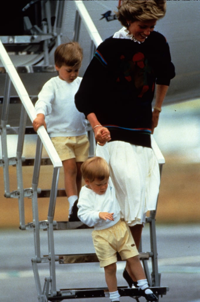 Princess Diana laughed while helping Prince Harry and Prince William out of a plane in Aberdeen, Scotland, in August 1986.