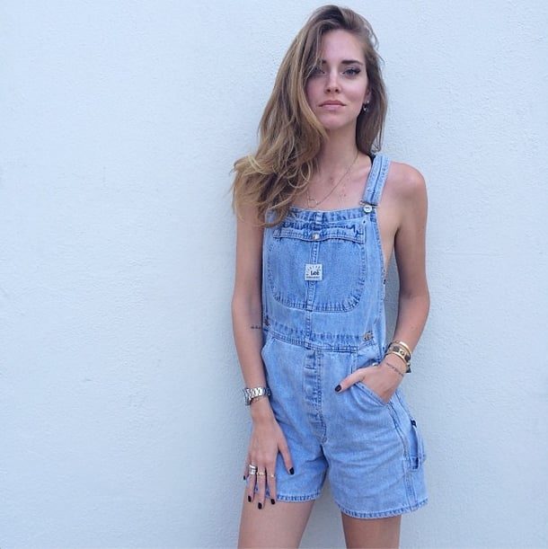 We're not saying that rocking overalls just like the ones you wore as a child is easy — especially with nothing underneath. But Chiara Ferragni certainly makes a case for the appeal of showing a little skin and piling on pretty elements, like bracelets, necklaces, and rings. Source: Instagram user chiaraferragni