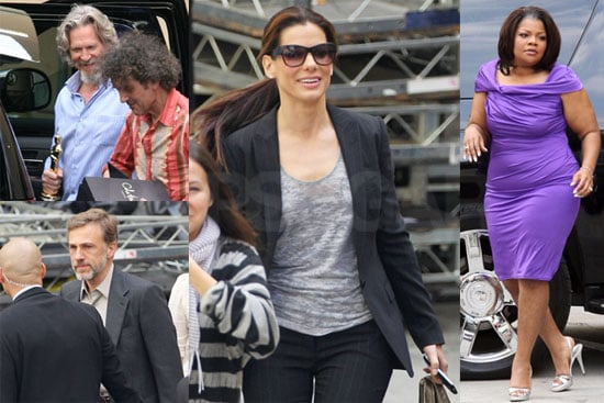 Photos of Sandra Bullock, Jeff Bridges, Mo'Nique And Christoph Waltz Heading in to Film Oprah Winfrey's 2010 Oscars Special