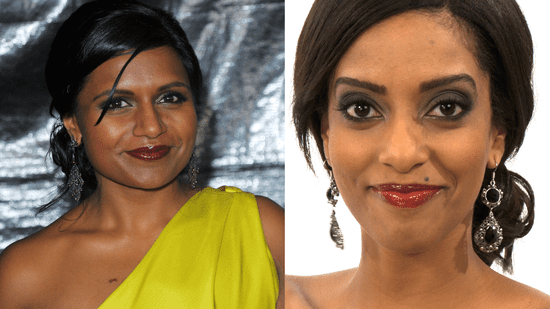 Mindy Kaling Berry Lips 2010 Golden Globes, red carpet beauty looks