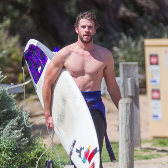 Liam Hemsworth Shirtless While Surfing in Australia