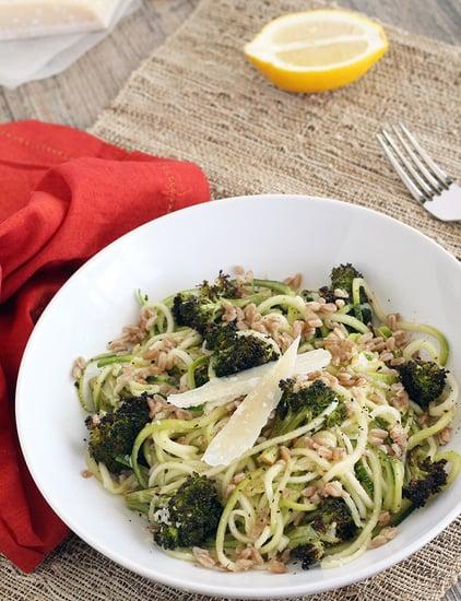 Zucchini Pasta With Farro, Parmesan, and Roasted Broccoli