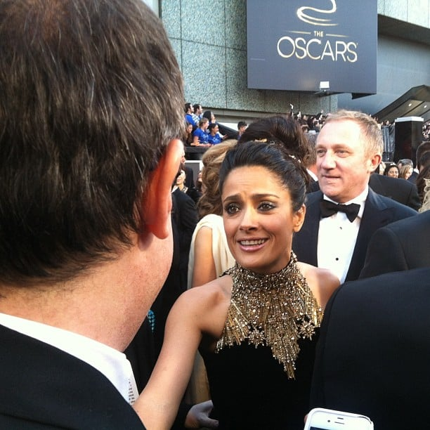Salma Hayek greeted a reporter at the Oscars. Source: Instagram user marcmalkin