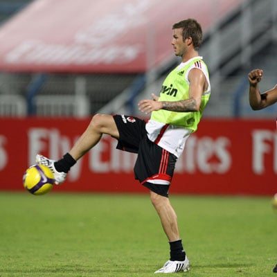 David Beckham Practices with AC Milan in Dubai