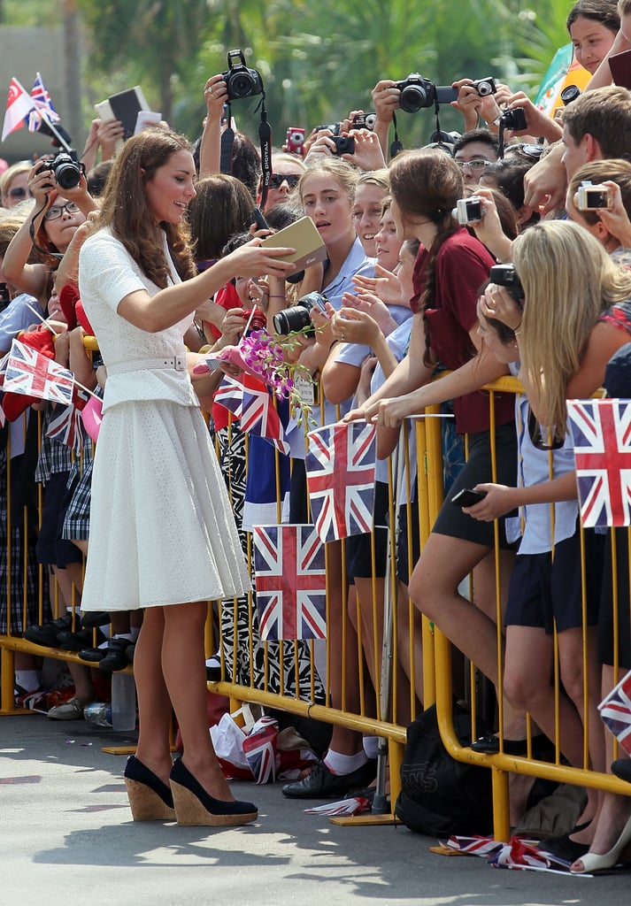 Kate Middleton greeted fans in Singapore.