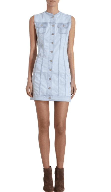This Christopher Kane x J Brand collarless denim dress ($380) is the product of an amazing collaboration. We love everything from the color to the buttons to the mock collar.