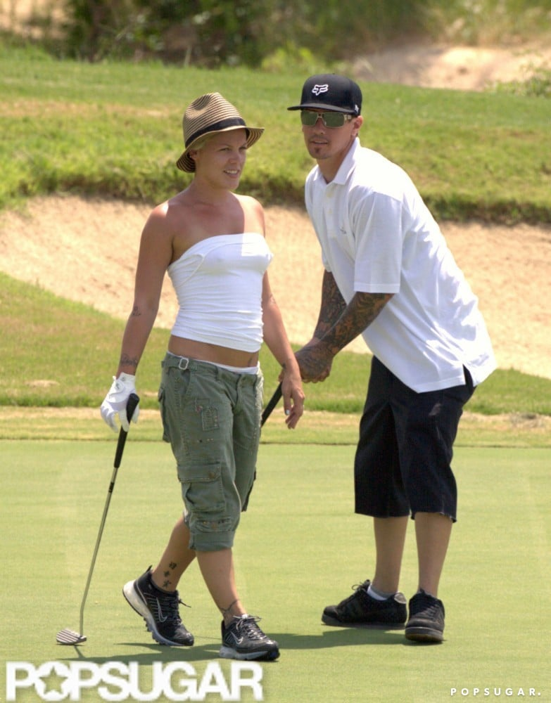 Pink and Carey Hart played golf on one of Cabo's courses in August 2006.