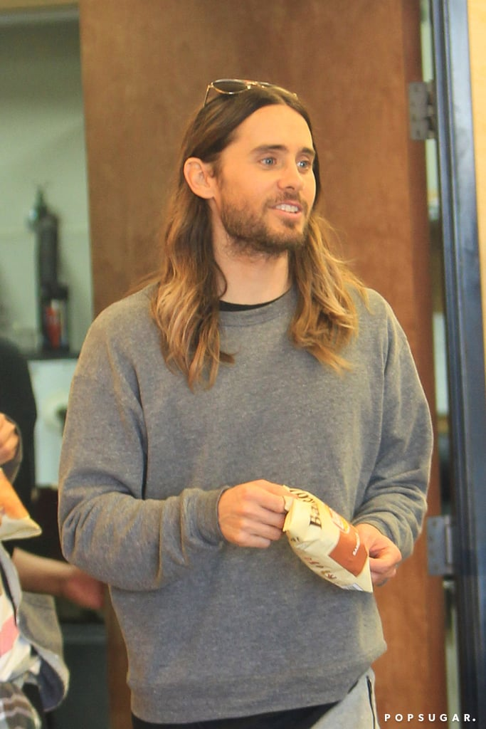 """Jared Leto may have partied until """"the break of dawn"""" on Sunday after his big best supporting actor Oscar win for Dallas Buyers Club, but he was fresh-faced on Monday when he stepped out for a snack at Subway."""