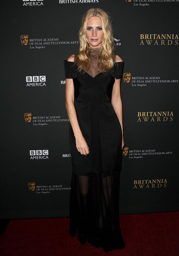 Poppy Delevingne in Marios Schwab at the BAFTA Britannia Awards.