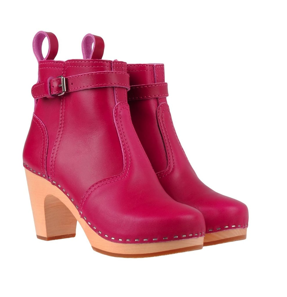 We love the idea of creating a perfectly quirky outfit with these fuchsia Swedish Hasbeens clog boots ($315, originally $389) and a black maxi skirt.