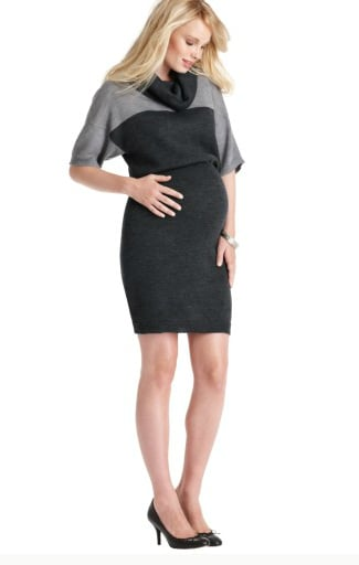 Ann Taylor Loft's Cowl Neck Colorblock Sweater Dress ($85) features a dramatic collar and contemporary, black-and-gray colorblock details.