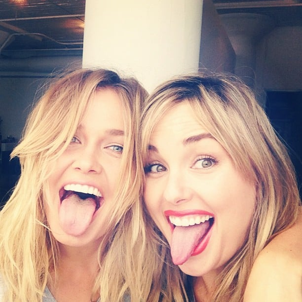 Lara Bingle pulled faces with Who What Wear's Hillary Kerr on a Cotton On photoshoot. Source: Instagram user mslbingle